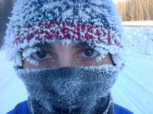 Frozen eye lashes